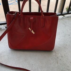 Longchamp red pleather handbag